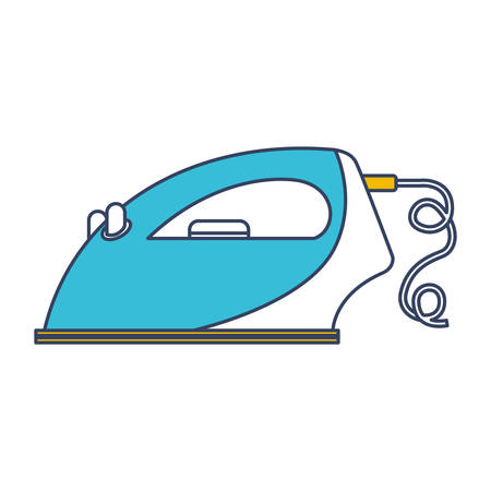 Color blue and yellow sections silhouette of clothing iron icon in side view vector illustration.