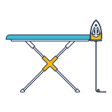 Color blue and yellow sections silhouette of ironing board and iron vector illustration. Vetores