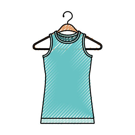 Colored crayon silhouette of female t-shirt without sleeves in clothes hanger vector illustration