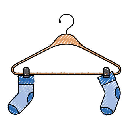 Colored crayon silhouette of pair of socks in clothes hanger vector illustration