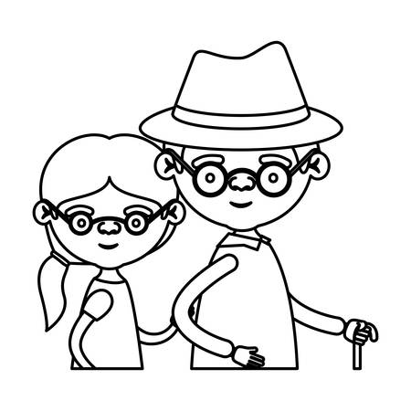 Sketch silhouette half body couple elderly of grandmother with glasses and ponytail side hair with grandfather with hat vector illustration Illustration