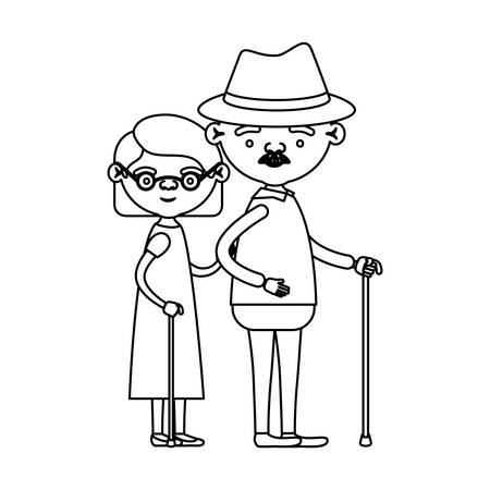sketch silhouette full body couple elderly in walking stick of grandmother with short hair in dress and grandfather with hat and moustache vector illustration Illustration