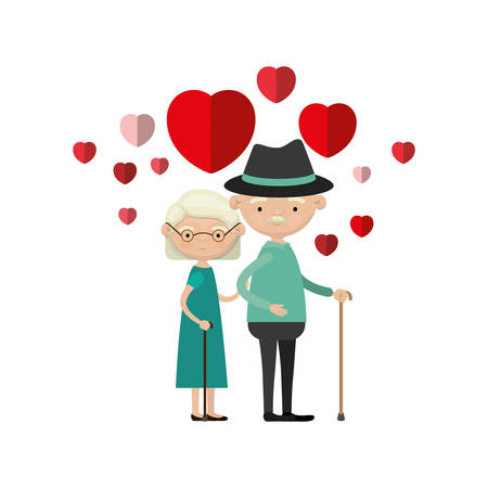 colorful caricature full body elderly couple embraced with floating hearts grandfather with hat in walking stick and grandmother with short hair vector illustration