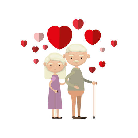 colorful caricature full body elderly couple embraced with floating hearts grandfather with moustache in walking stick and grandmother with straight hair vector illustration Illustration