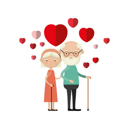 colorful caricature full body elderly couple embraced with floating hearts beard grandfather in walking stick and grandmother with bow lace and short hair vector illustration