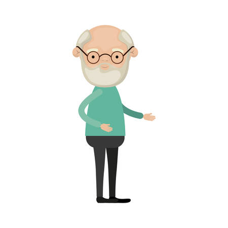 Colorful full body grandfather in clothes with beard and glasses vector illustration Illustration