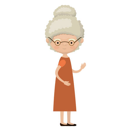 Colorful full body elderly woman in dress with curly collected hairstyle and glasses vector illustration Illustration