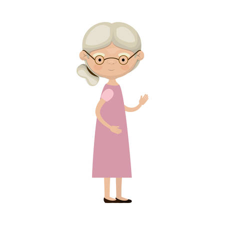 Colorful full body elderly woman in dress with side bun hairstyle and glasses vector illustration