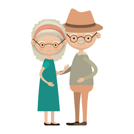 embraced: Colorful full body elderly couple embraced grandmother bow lace and curly hairstyle in dress and grandfather with hat and moustache vector illustration Illustration