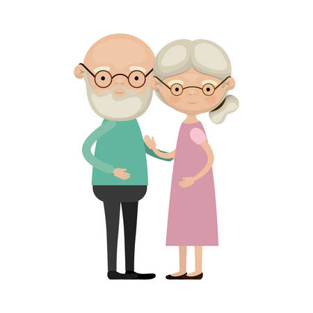 mature adult: Colorful full body elderly couple embraced bald grandfather with beard and glasses and grandmother collected side hairstyle in dress vector illustration
