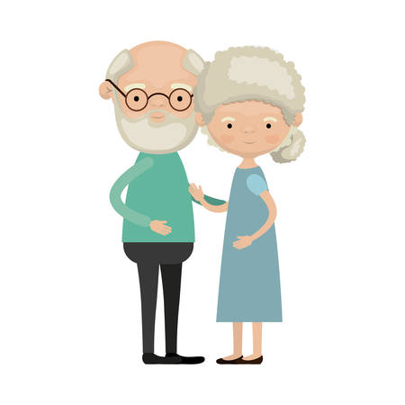 Colorful full body elderly couple embraced grandfather with beard and glasses with grandmother curly bun hairstyle in dress vector illustration