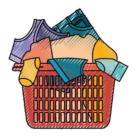Colored crayon silhouette of laundry basket with heap of clothes vector illustration Illustration