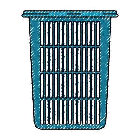 colored crayon silhouette of tall laundry basket without handles vector illustration Illustration
