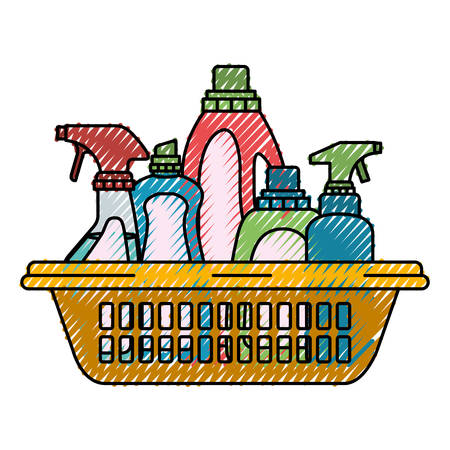 Colored crayon silhouette of cleaning products in plastic basket vector illustration