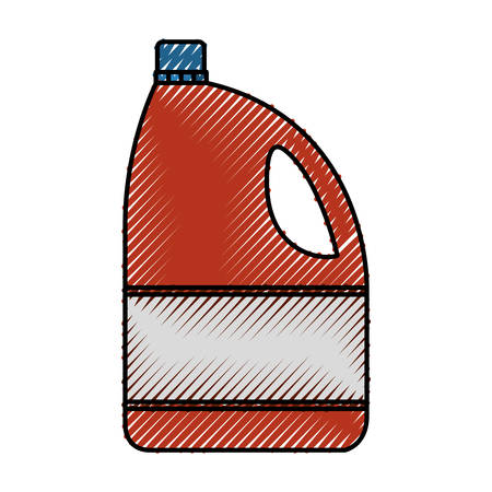 Colored crayon silhouette of bleach clothes bottle vector illustration
