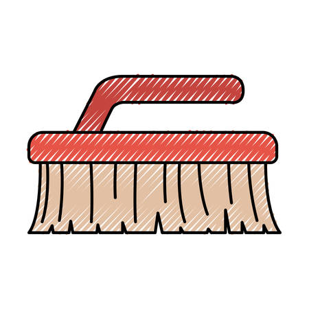 Colored crayon silhouette of cleaning brush vector illustration Illustration