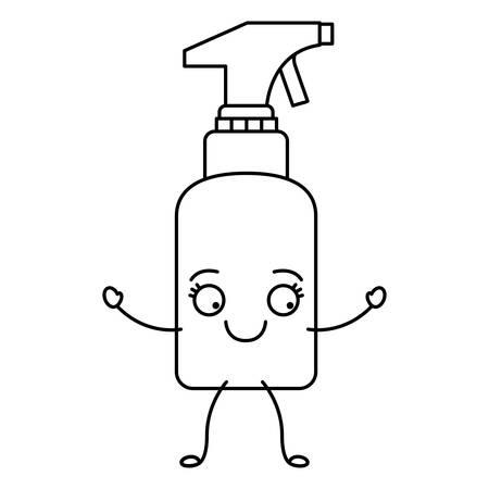 Monochrome cartoon silhouette of spray cleaner bottle vector illustration