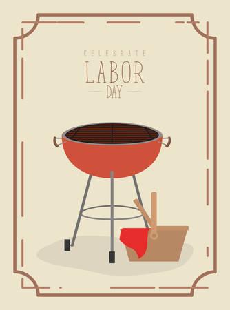Marco de póster de color con parrilla de barbacoa y cesta de picnic de celebre ilustración de vector de feliz día del trabajo Foto de archivo - 84671949
