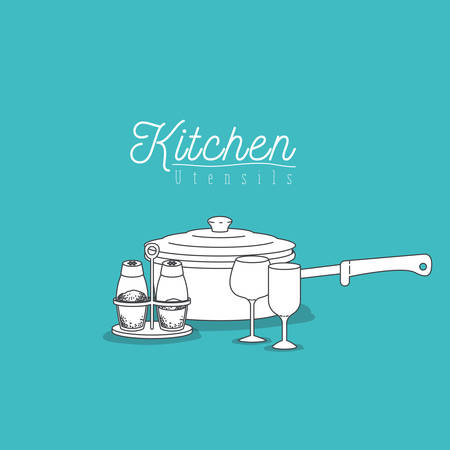 saute: color background with set collection of silhouette kitchen utensils vector illustration Illustration