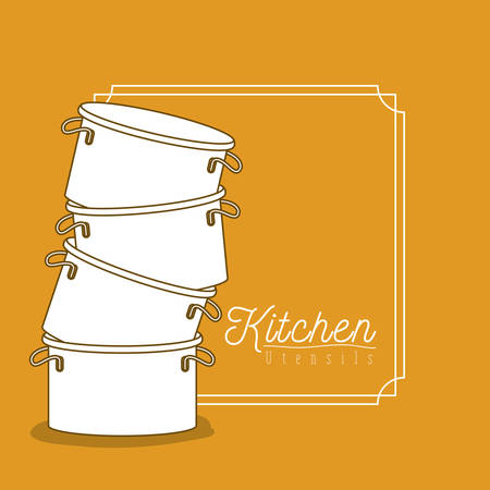 color background with frame vintage decorative and set silhouette stack of pots kitchen utensils vector illustration Illustration