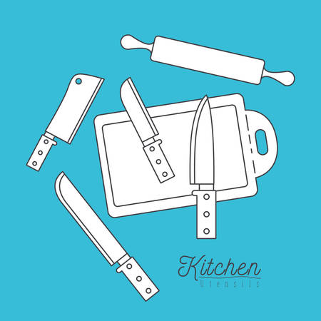 color background with set silhouette group of kitchen utensils knifes and cutting board with roll vector illustration Illustration