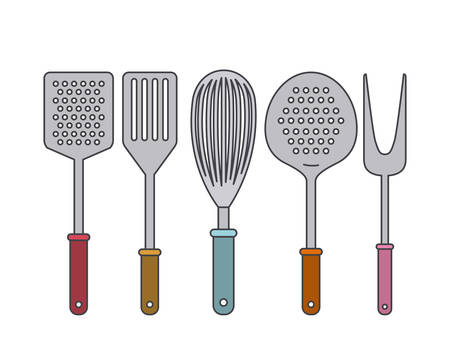 steel plate: white background with set collection kitchen utensils vector illustration