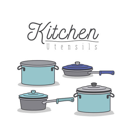 white background with colorful set of kitchen pots and pans with lids kitchen utensils vector illustration Illustration