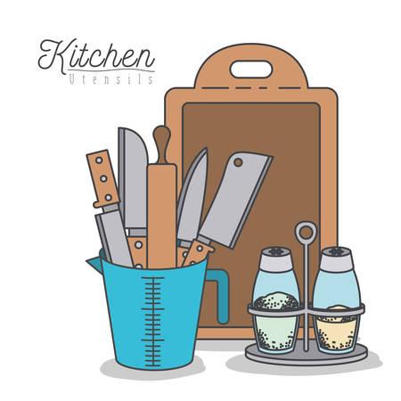 white background with colorful set kitchen utensils in jar vector illustration Illustration