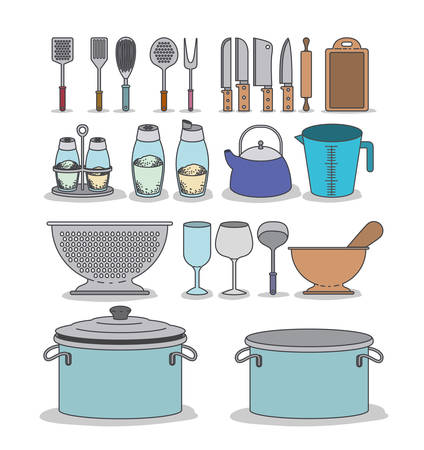 colander: white background with colorful set silhouette group of kitchen utensils vector illustration Illustration