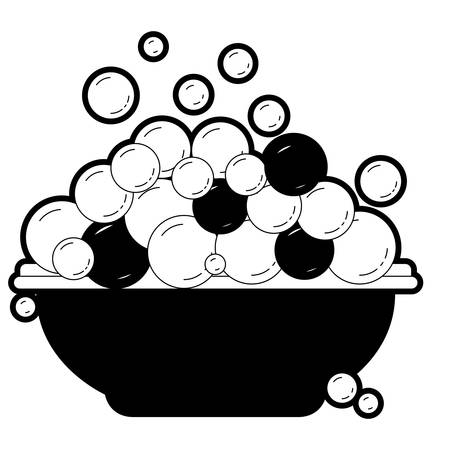 black sections silhouette with bowl and soap bubbles vector illustration
