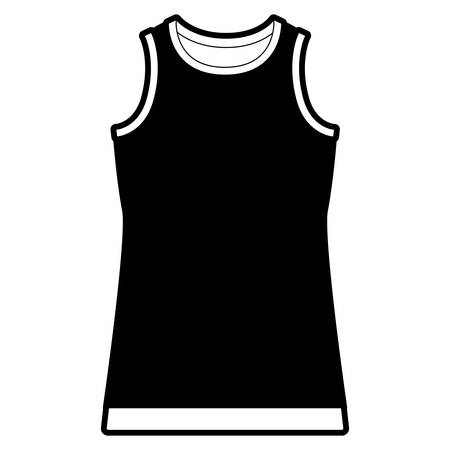 black sections silhouette of t-shirt without sleeves men vector illustration