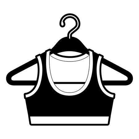 black sections silhouette shirt top for women in clothes hanger vector illustration 일러스트