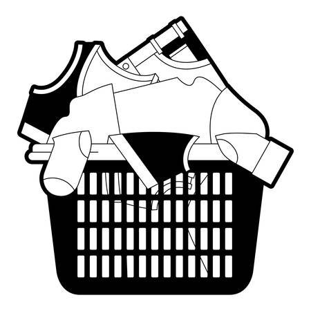 black sections silhouette of laundry basket with heap of clothes vector illustration