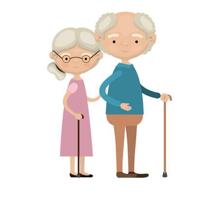 barevné celé tělo starší pár v pěší tyč babička strana shromáždil účes v šatech a dědeček s několika kudrnatými vlasy vektorové ilustrace
