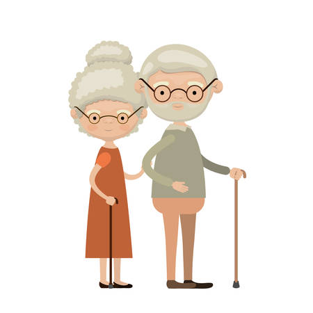 colorful full body elderly couple in walking stick with glasses grandmother curly bun hairstyle in dress and grandfather with beard vector illustration