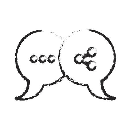 monochrome blurred silhouette of pair speech bubbles with symbols of ellipsis and network vector illustration