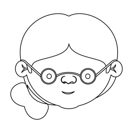 Sketch Silhouette Of Face Elderly Woman With Glasses And Side