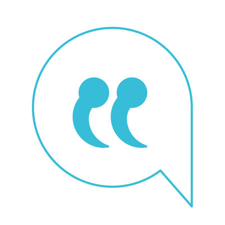 blue color silhouette of speech bubble with quote sign vector illustration