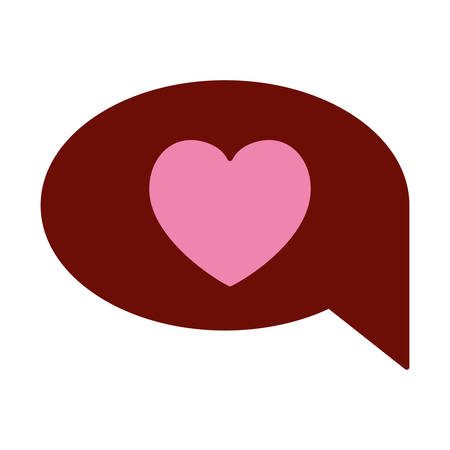 pink and scarlet red sections silhouette of speech bubble with heart vector illustration