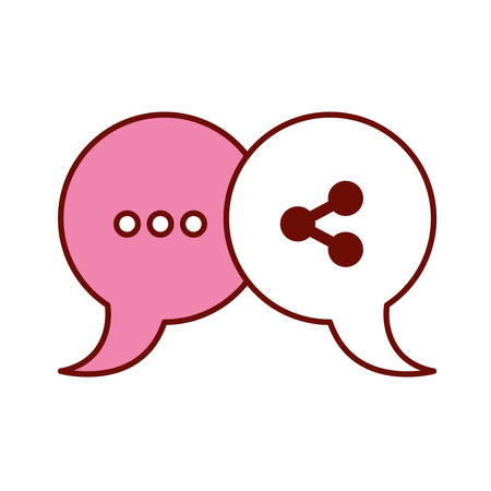 pink and scarlet red sections silhouette of pair speech bubbles with symbols of ellipsis and network vector illustration