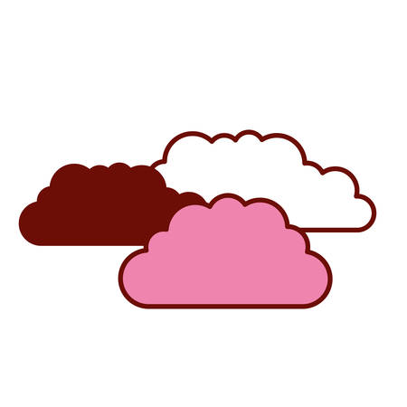 pink and scarlet red sections silhouette with set of clouds vector illustration Illustration