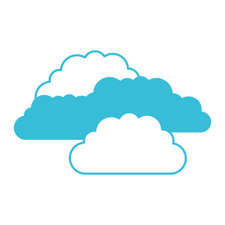 blue color silhouette with set of clouds vector illustration