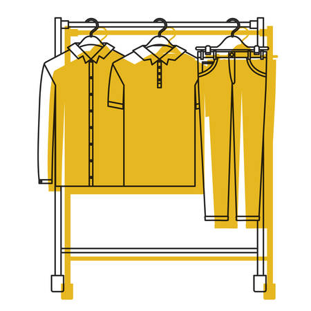 Yellow watercolor silhouette of male clothes rack with shirts and pants on hangers vector illustration