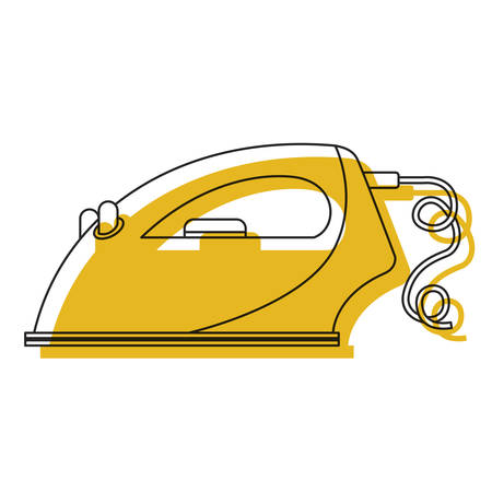 ironing: yellow watercolor silhouette of clothing iron icon in side view vector illustration Illustration
