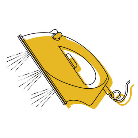 ironing: yellow watercolor silhouette of steam iron icon vector illustration Illustration