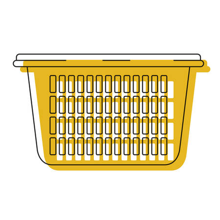 Yellow watercolor silhouette of laundry basket without handles. Vector illustration isolated on white background.
