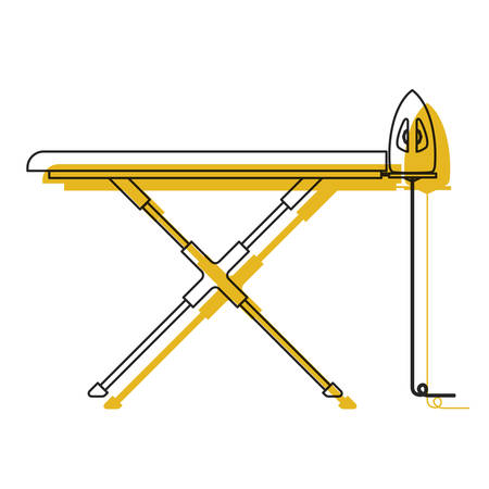 yellow watercolor silhouette of ironing board and iron vector illustration
