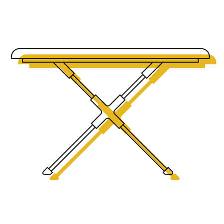 Yellow watercolor silhouette of ironing board vector illustration