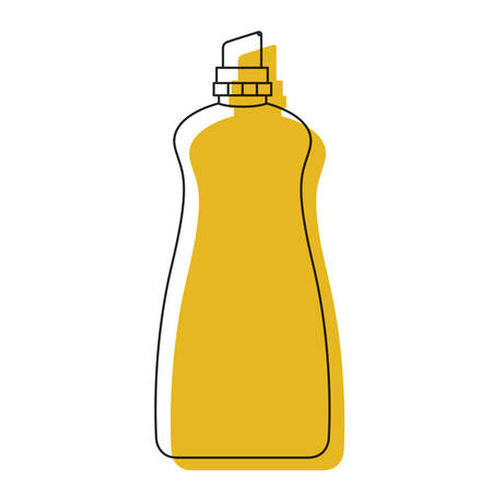 antiseptic: yellow watercolor silhouette of cloth softener bottle vector illustration Illustration