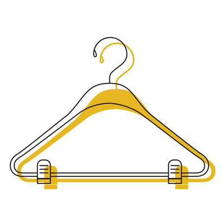 yellow watercolor silhouette of clothes hanger vector illustration